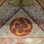 Three Hares motif in the replica of the Gwozdziec synagogue ceiling. Photo © Ruth Ellen Gruber