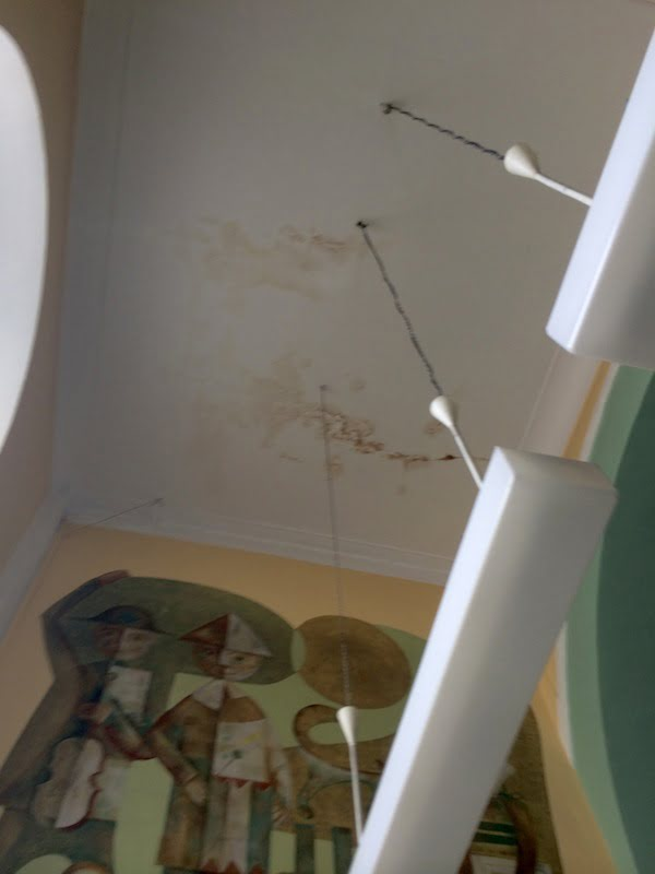 Water damage on ceiling of the Scheinbach synagogue in Przemysl. Photo: Remembrance & Reconciliation