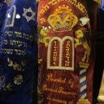 Close-up of Torah scrolls in the Ark in Dublin.