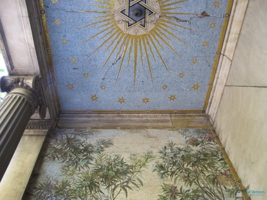 Ceiling of one of the grand tombs in the Kozma utca Jewish cemetery, Budapest