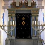 Rychnov nad Kneznou, Czech Republic: Hanukkah-type menorahs flank the ark in the restored synagogue, now a Jewish museum