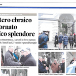 Article in local newspaper showing pictures of the restored entry gate to the Livorno monumental Jewish cemetery.