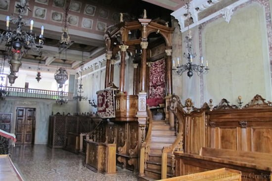 The ornate wooden Bimah in the Padova synagogue. Photo © Ruth Ellen Gruber