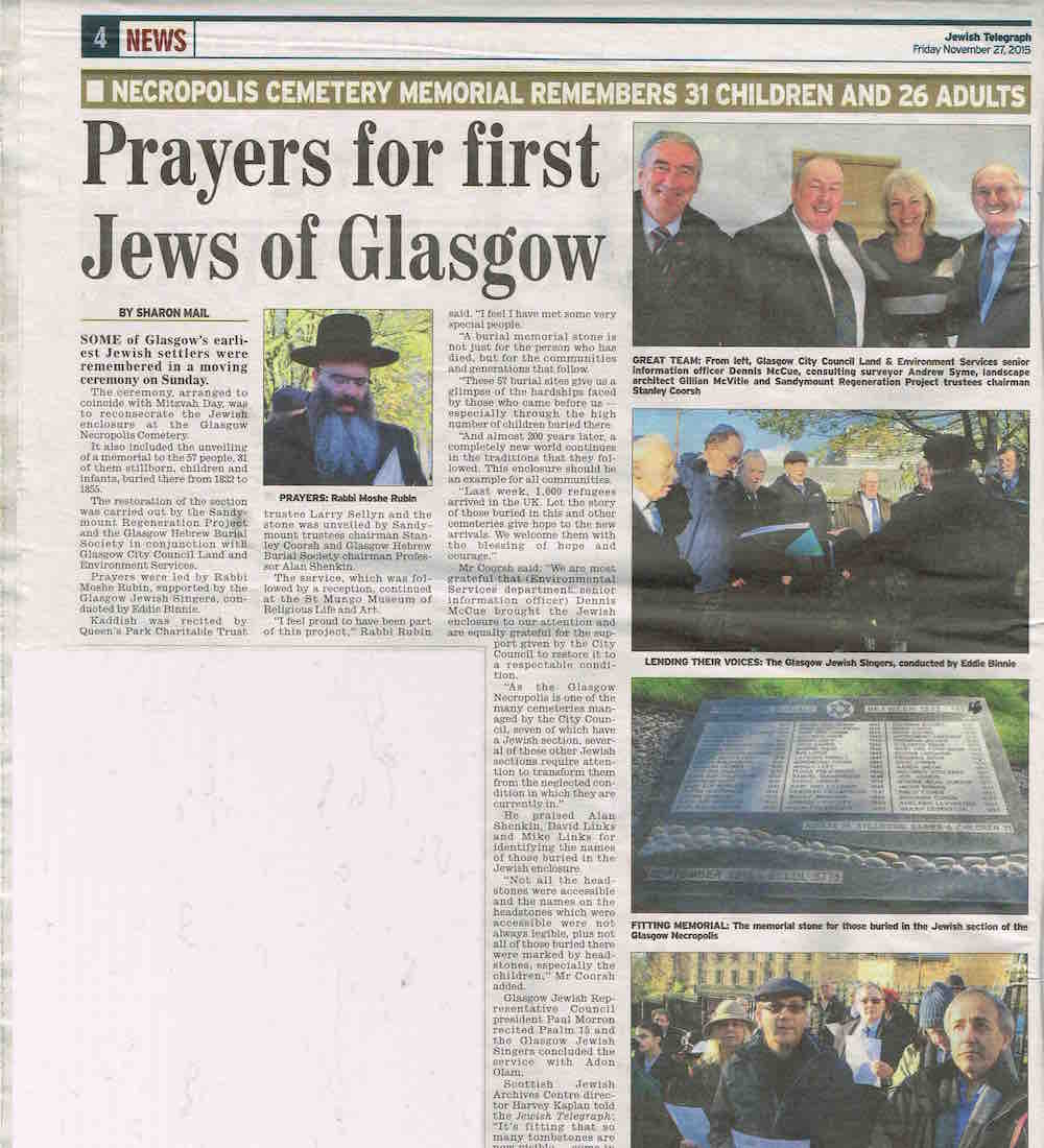 GlasgowJewish Telegraph 27 Nov 2015 Necropolis copy