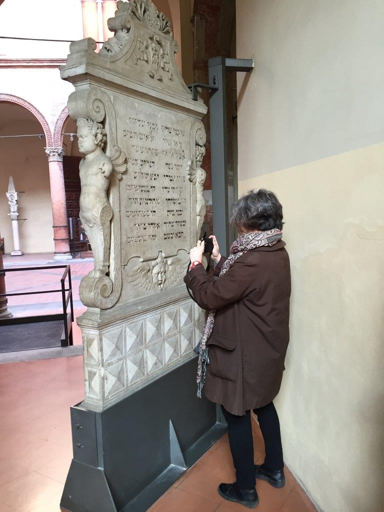 JHE Coordinator Ruth Ellen Gruber photographs the gravestone of Shabatai Elkanan of Rieti. Photo: Mauro Perani