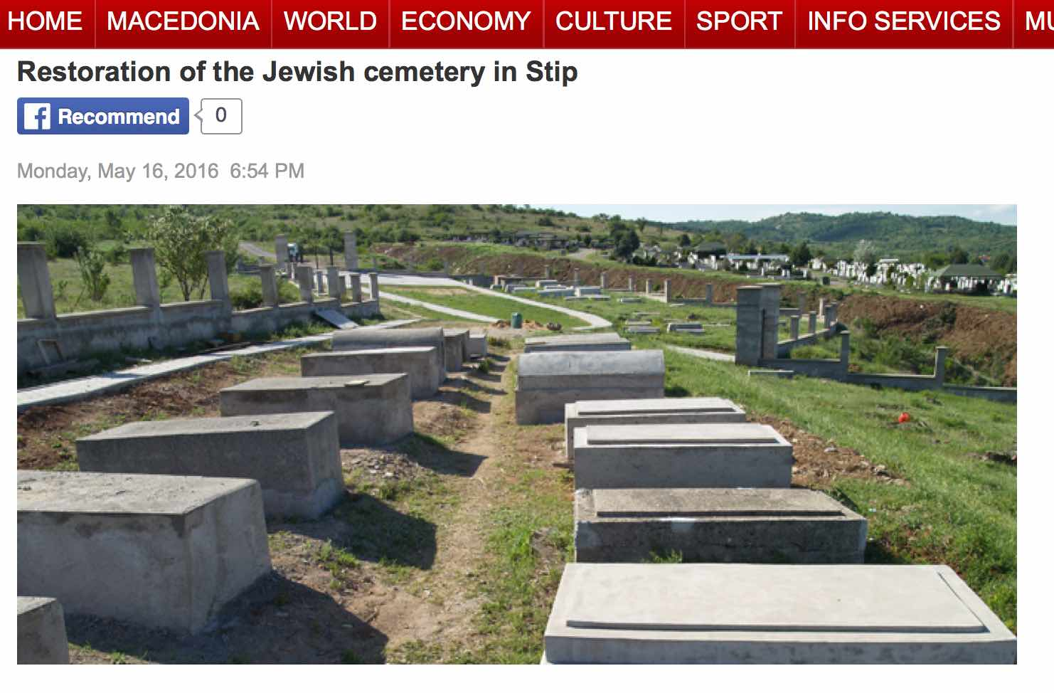 Screen shot from the mia.mk web site showing restored Jewish cemetery in Stip