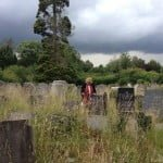 Lowering sky in the beautiful old Jewish cemetery in Southampton, England (now designated part of a nature preserve, so the grass is high)
