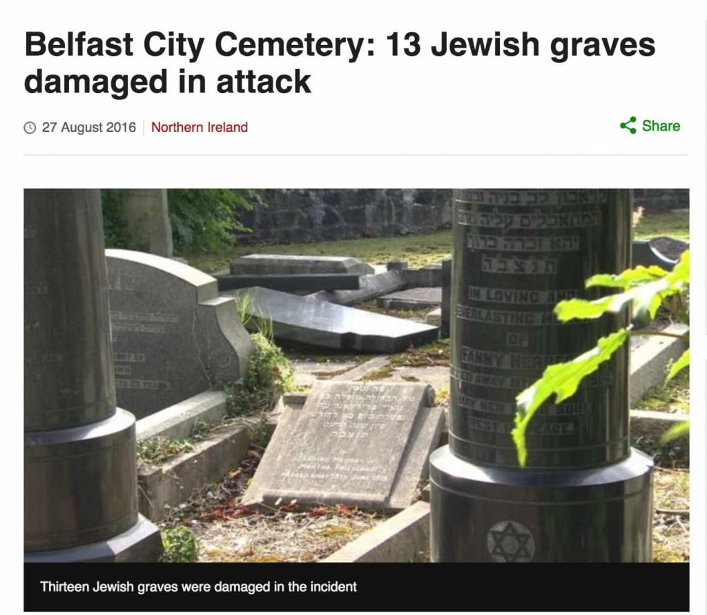 Screen grab of the vandalized Jewish cemetery in Belfast, from the BBC news web site