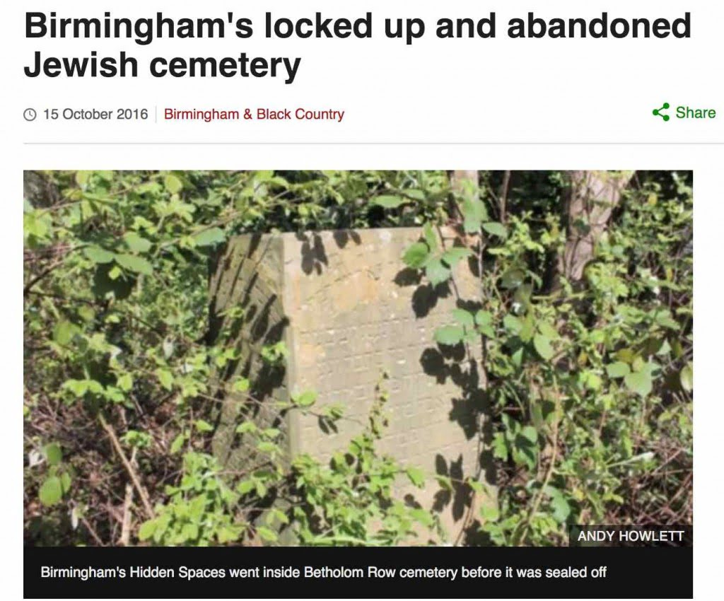 Screen grab of BBC web article about the cemetery
