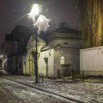 Ghostly light outside the Remuh synagogue, Krakow, on the 1st night of Hanukkah/Christmas Eve. Photo © Jason Francisco