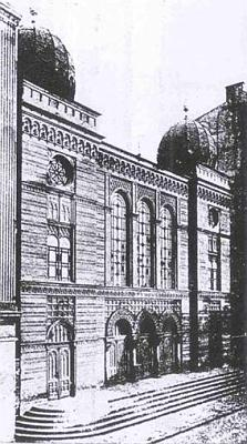 Archival photo of one of the six synagogues destroyed in Ostrava, Cz