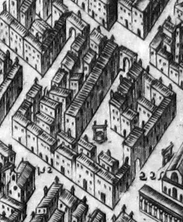Detail of a 1584 map of Florence by Stefano Buonsignori, showing the ghetto