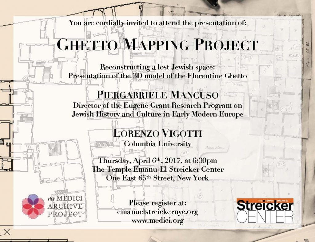 Florence Ghetto Mapping presentation @ Temple Emanu-El Streicker Center | New York | New York | United States